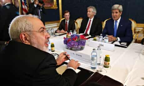 Iran's foreign minister Mohammad Javad Zarif (left) meets with US secretary of state John Kerry