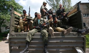 Pro-Russian separatist fighters from the Vostok Battalion in Donetsk on 10 July, 2014.