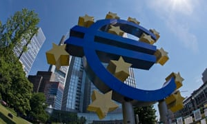 Euro sign in front of European Central Bank