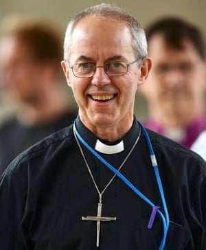 The Archbishop of Canterbury Justin Welby returns to the debate after the lunch break looking cheerful.