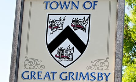 Sign post at the boundary of Grimsby Town, Grimsby