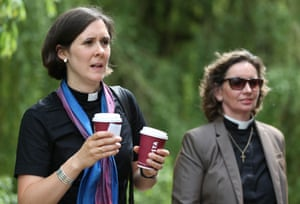 Female members of the clergy outside the Church of England General Synod in York.