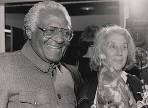 16 October 1991: Archbishop Desmond Tutu welcomes Nadine Gordimer back to South Africa after she received the Nobel Prize in Literature.