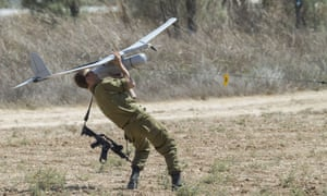 An Israel soldier prepares to launch an Israeli army's Skylark I unmanned drone aircraft.