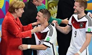 Angela Merkel and Bastian Schweinsteiger
