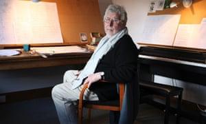 Harrison Birtwistle in his studio at home in Dorset.