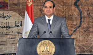 Egypt's President Abdel Fattah al-Sisi looks on as he delivers a speech in Cairo