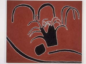 Blood on the Spinifex by Timmy Timms. The mistake creek massacre 2000, ochres on linen.