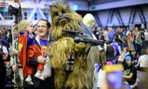 Superman and Chewbacca at the London Film and Comic Con 2014 in Earls Court.