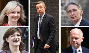 Composite of the cabinet reshuffle with Gove centre