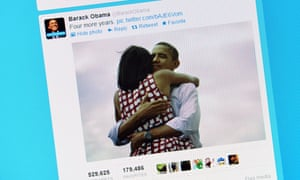 Photo of a computer screen showing Barack Obama's tweet on November 7, 2012 after his re-election as US president.