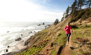 Trail running in Ecola state park.