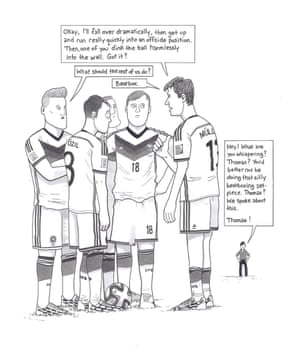 Germany needed extra time to get past Algeria. The highlight of the game came when the German players conspired to produce a memorably hopeless free kick. Straight from the training ground, this one.