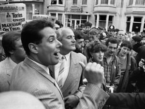 Derek Hatton outside the Labour Party Conference in Blackpool, 1985