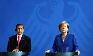 German Chancellor Angela Merkel and Peruvian President Ollanta Humala Tasso at a press conference following the 5th Petersberg Climate Dialogue, at the Chancellery in Berlin