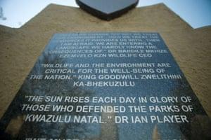The  Rhino Conservation Memorial at Nyalazi Gate, Hluhlue/Imfolozi National Park.
