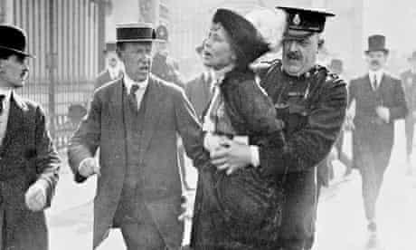 Emmeline Pankhurst arrested outside Buckingham Palace, London, May 1914