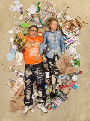 Sam and Jane surrounded by seven days of their own rubbish in Pasadena, California.
