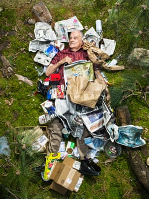 Milt surrounded by seven days of his own rubbish in Pasadena, California.