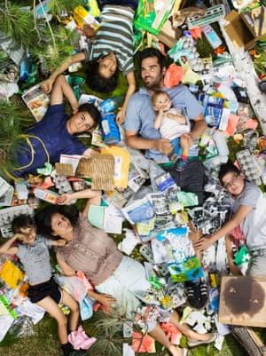 Joya, Santiniketa, Rabindranath, Chandramoha, Ben, Bodihisattba, and Omjabarindra surrounded by seven days of their own rubbish in Pasadena, California