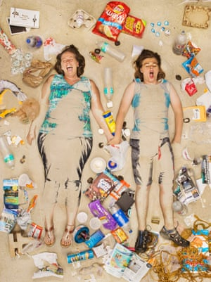 Tammy and Trevor surrounded by seven days of their own rubbish in Pasadena, California.