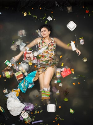 Gaby surrounded by seven days of her own rubbish in Pasadena, California.