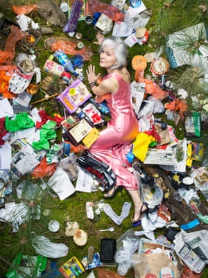 Mariko surrounded by seven days of her own rubbish in Pasadena, California.