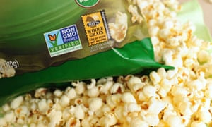 label on a bag of popcorn indicates it is a non-GMO food product, in Los Angeles, California, in this October 19, 2012 file photo.