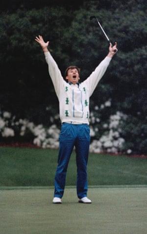 Nick Faldo celebrates his Masters win 9 April 1989 in Augusta