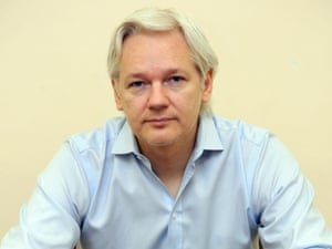 Julian Assange inside the Ecuadorian Embassy in London in June 2013, ahead of the first anniversary of his arrival there.