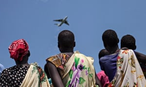 An International Red Cross plane drops supplies in South Sudan