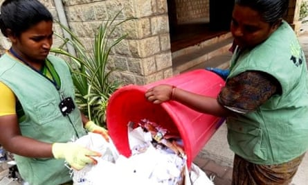 Waste-pickers collecting dry waste from an apartment in Bangalore