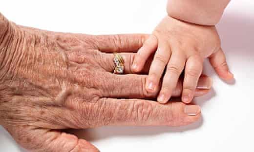 Grandparent and grandchild hands