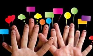 Fingers speech bubbles