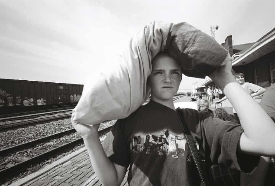 Boy at train station Williston