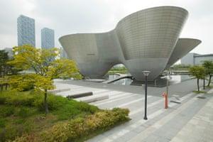 The Incheon Tri-bowl cultural centre in Songdo.