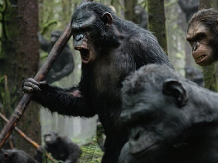 Toby Kebbell, as male bonobo Koba, leads a battle in a scene from Dawn of the Planet of the Apes