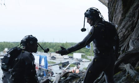 Actors Andy Serkis (right) and Toby Kebbell as apes Caesar and Koba in Dawn of the Planet of the Apes