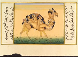 A camel composed of copulating humans, Gouache painting, 19th Century, India