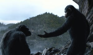 Actors Andy Serkis (right) and Toby Kebbell transformed into chimp and bonobo by motion capture in Dawn of the Planet of the Apes.