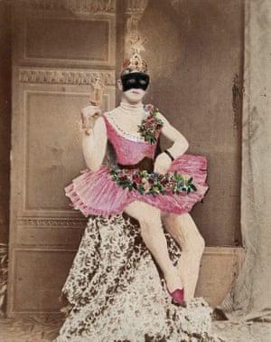 Masked man in pink tutu