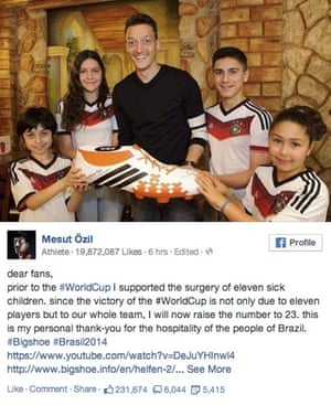 mesut ozil world cup facebook