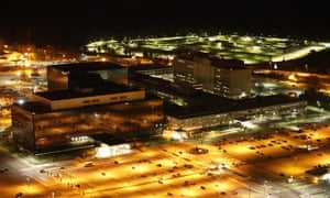 Nighttime aerial picture of the National Security Agency HQ in Maryland, US.