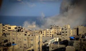 Smoke rises after an Israeli missile strike on July 16, 2014 in Gaza City, Gaza Strip.