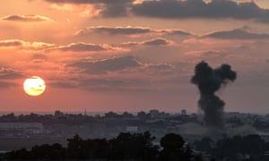 Smoke billowing from the Gaza Strip following an Israeli air strike.