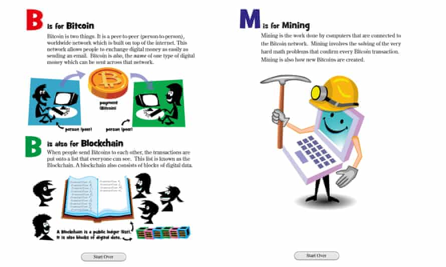 Two pages from iPad app The Bitcoin Alphabet.