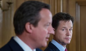 Nick Clegg and David Cameron at a news conference in july 2014