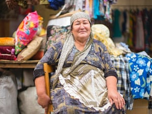 A woman at a market in Baikonur town