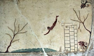 swimmers in art: tomb of the diver paestum