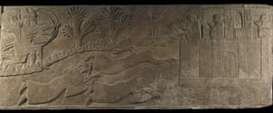 swimmers in art: Assyrian stone panel showing soldiers crossing a river